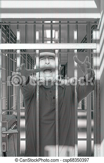 fou, hôpital, maladie, barres, psychiatrique, cris, psychopath, par, asile, homme - csp68350397