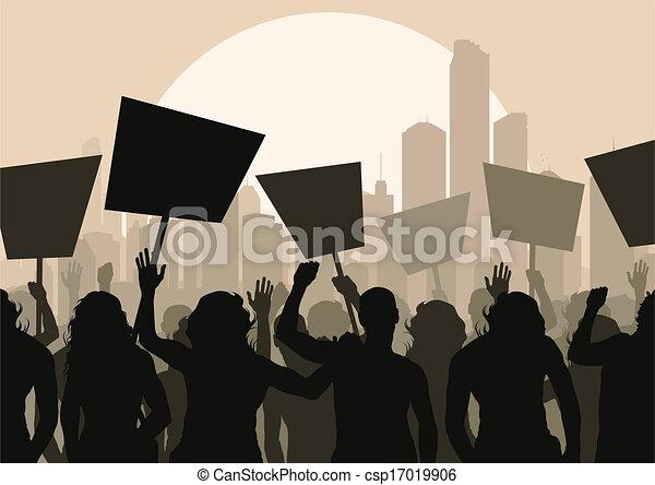 foule, vecteur, protesters, fond - csp17019906