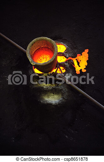 Foundry - molten metal in crucible standing on moulds - leftover - csp8651878