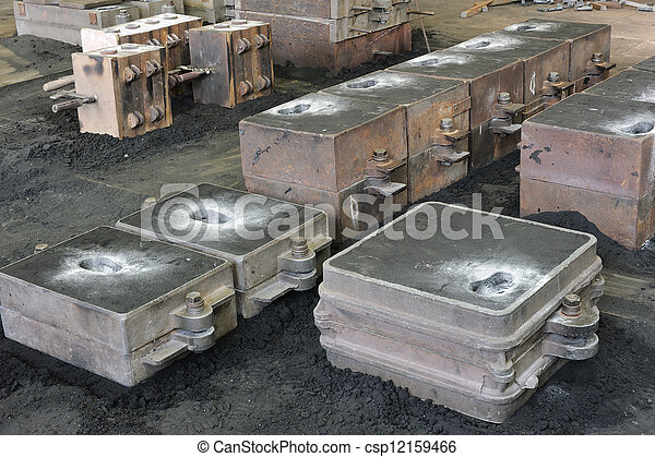 Foundry, sand molded casting, molding flasks - csp12159466
