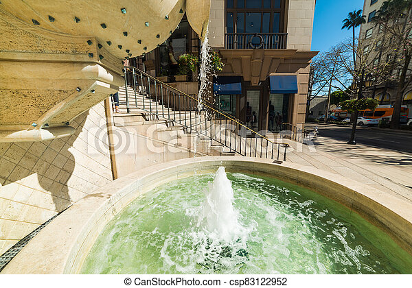Fountain in Beverly Hills, Los Angeles county - csp83122952