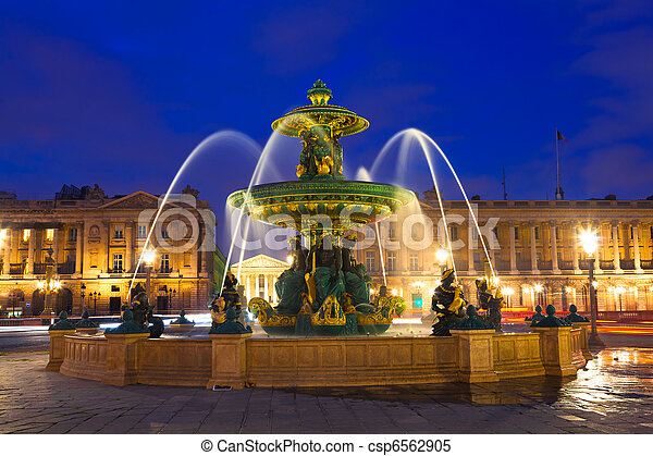 Fountain in Paris at Night - csp6562905