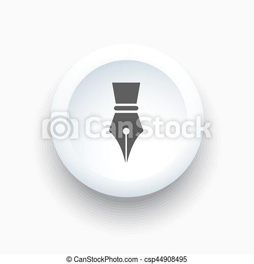 Fountain pen icon on a white 3D button - csp44908495