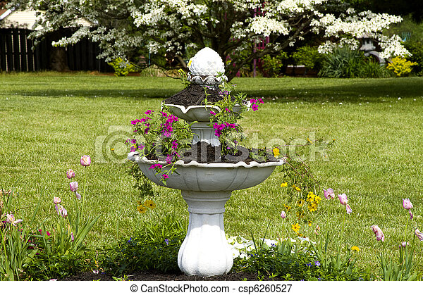 Fountain Planter Water Fountain Serving As A Planter For Flowers
