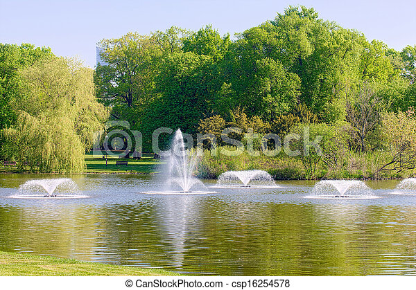 Fountains in the park - csp16254578