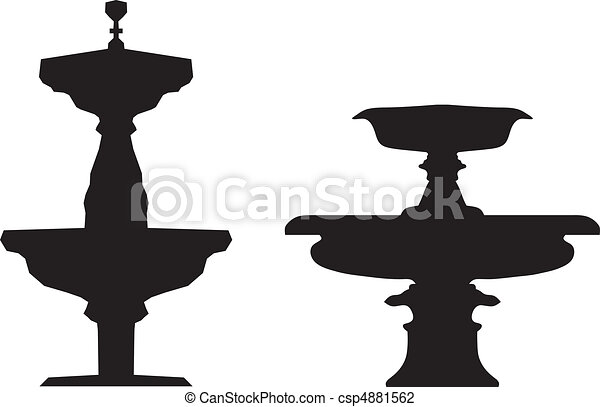 Fountains Silhouettes Vector Illustration