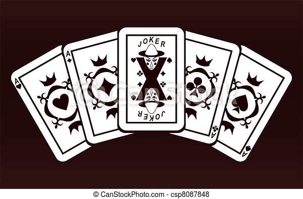 The Joker Line Art : Four aces and joker. playing cards on a dark red background. vector