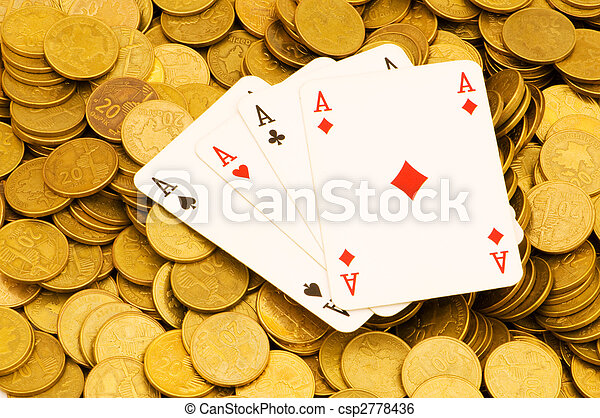Four aces and lots of gold coins - csp2778436
