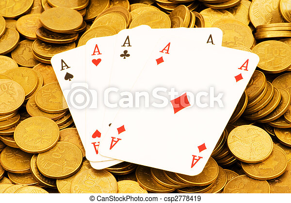 Four aces and lots of gold coins - csp2778419