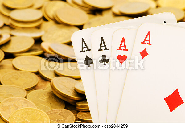 Four aces and lots of gold coins - csp2844259