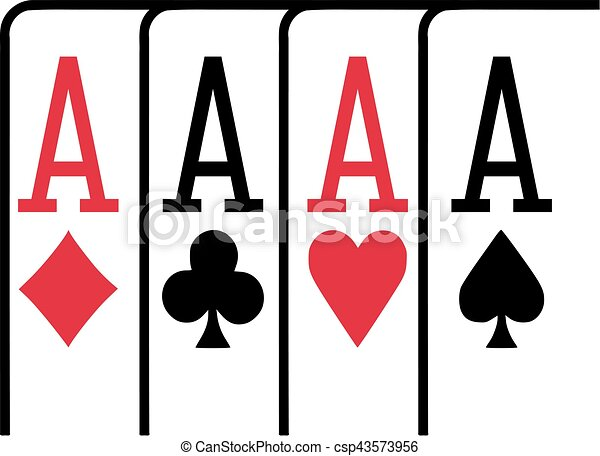 Four aces playing cards winning poker - csp43573956