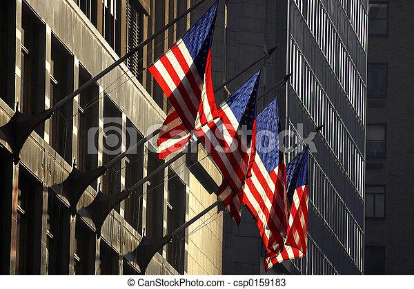 Four american flags - csp0159183