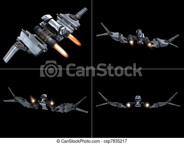 Four back views of a StarFighter in action - csp7835217