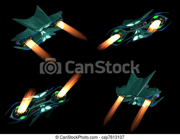 Four back views of an alien ship - csp7613107