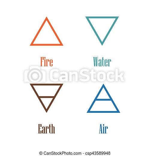 Vector Illustration Four Elements Icons Line Symbols Air Fire