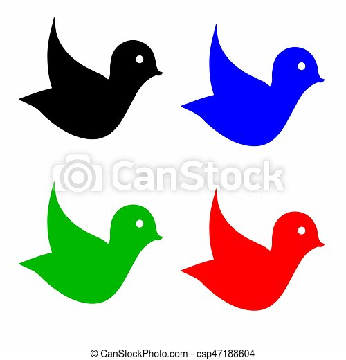 four birds vector in multiple colors isolated on white vector rh canstockphoto com birds vector art bird vector png