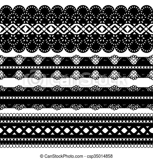 Four Black Ribbons Set Of Seamless Lace Ribbon