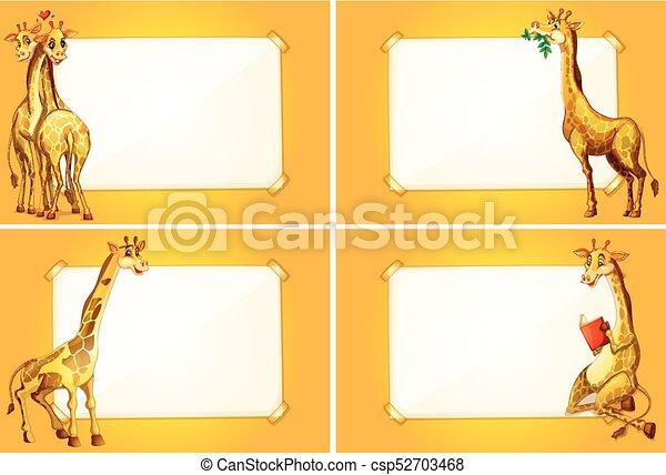 Four border templates with cute giraffes illustration four border templates with cute giraffes csp52703468 maxwellsz
