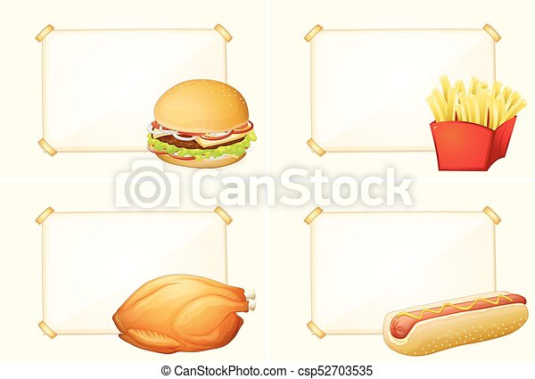 four border templates with different fastfood meals illustration
