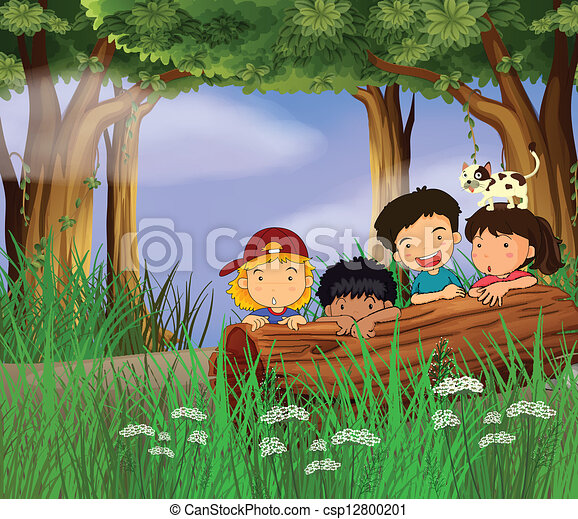 Four childrens playing in the forest. Illustration of four ...