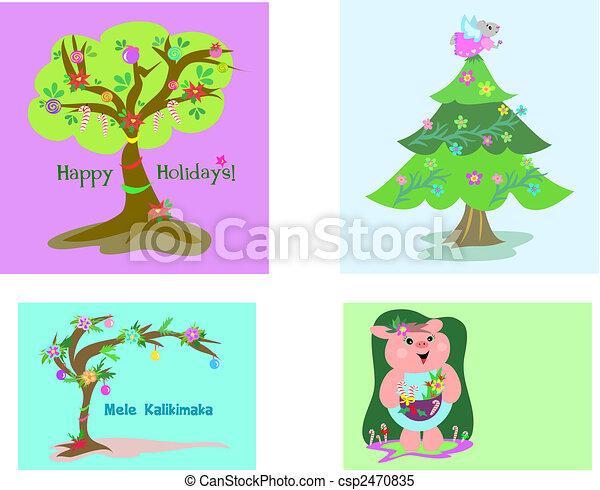Four Christmas Tags - csp2470835