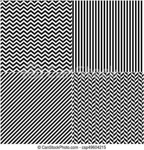 four classic black_and white lines seamless patterns collection diagonal chevron zigzag and
