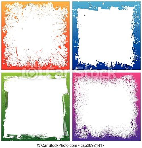 Four color frames. Set of four color grunge square backgrounds. eps10.