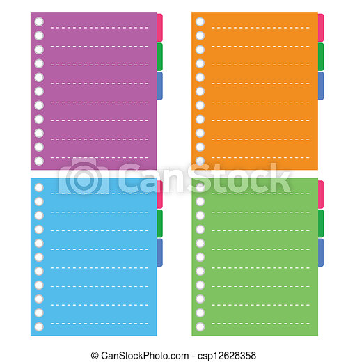 Four Color Of Lined Spiral Notepad Papers With Tabs Vector  Color Lined Paper