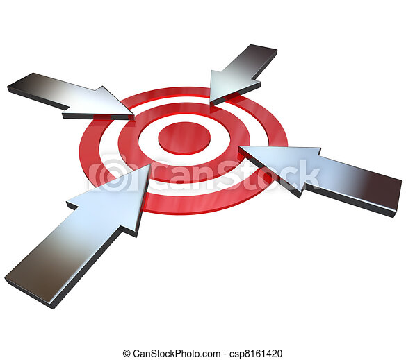 Four Competing Arrows Point at Bulls-Eye Target  - csp8161420