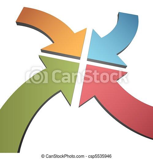 Four curve color 3D arrows converge point center - csp5535946