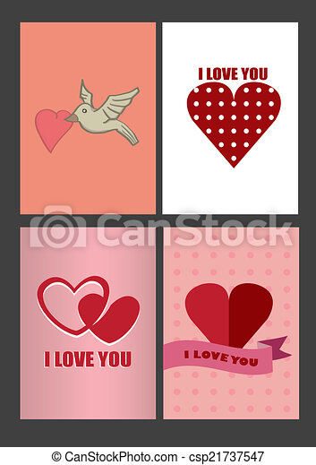 Four Designs for Valentines Day Greeting Cards and Posters - csp21737547