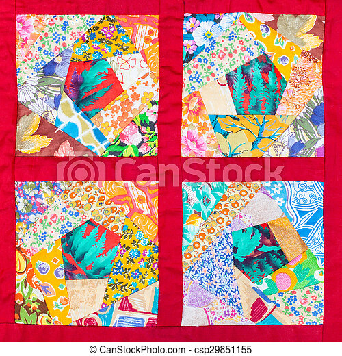 four details of hand made patchwork quilt - csp29851155