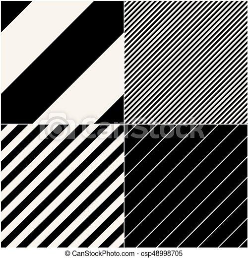 four diagonal patterns collection diagonal lines seamless black and white pattern repeat straight monochrome stripes texture background geometric vector