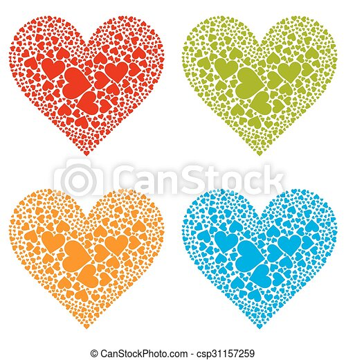 Four Different Coloured Heart Shapes - Set - csp31157259