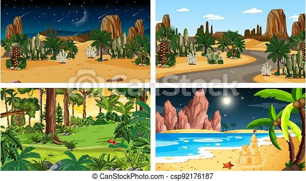 Four different nature horizontal scenes - csp92176187