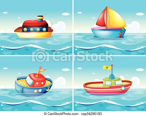 four different types of boats floating on the sea illustration