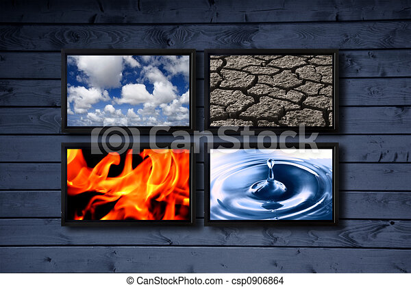 Four Elements Art : Four elements. big panel of tv�s on a wood blue wall drawing