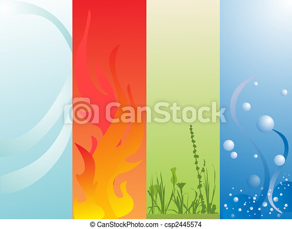 Four Elements Art : Four elements. vector illustration of air fire land and eps