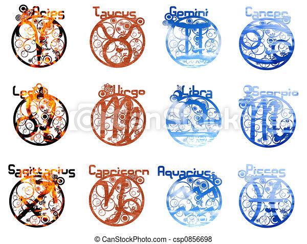 Four Elements Zodiac The Four Element In Stylized Zodiac Signs