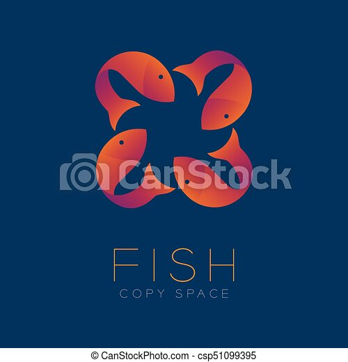 Four Fish Symbol Icon Set Orange Violet Gradient Color Design