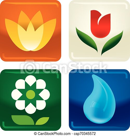 Four flowers and water drop icons in shiny style. - csp70345572