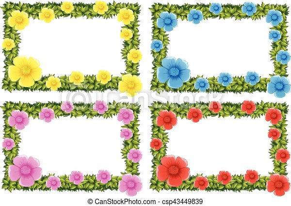 Four Frame Design With Colorful Flowers