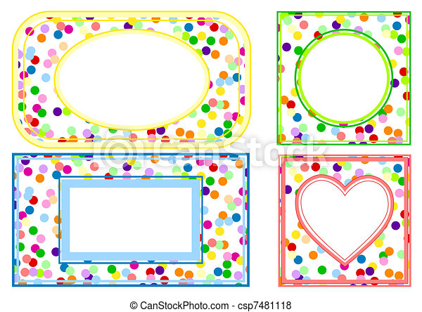 Four frames of colourful balls on a white background.