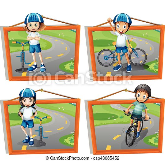 Four Frames Of Kids Riding Bicycle Illustration