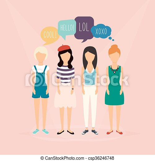 Four girls communicate. Speech Bubbles with Social Media Words. Vector illustration of a communication concept, relating to feedback, reviews and discussion. - csp36246748