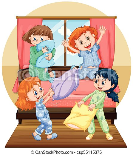 Four girls playing pillow in bedroom - csp55115375