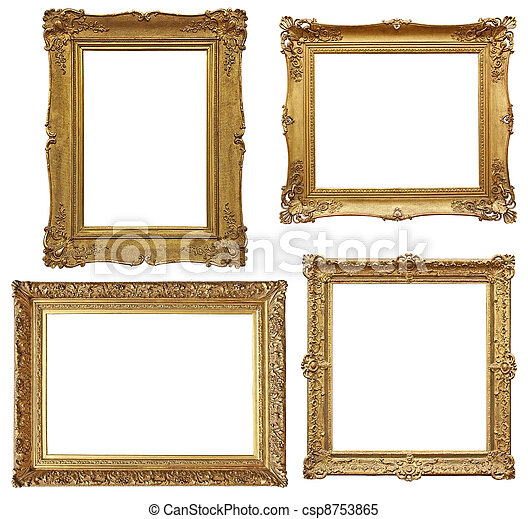 four golden baroque empty frames - csp8753865