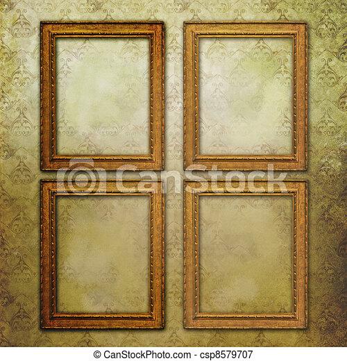 four golden empty frames on a grunge floral wallpaper stock illustration - Empty Frames