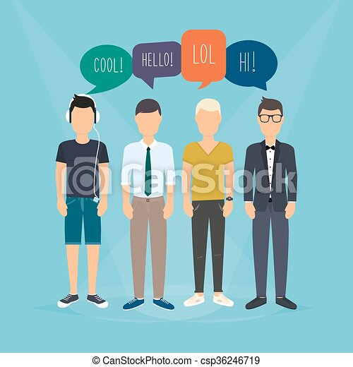 Four guys communicate. Speech Bubbles with Social Media Words. Vector illustration of a communication concept, relating to feedback, reviews and discussion. - csp36246719