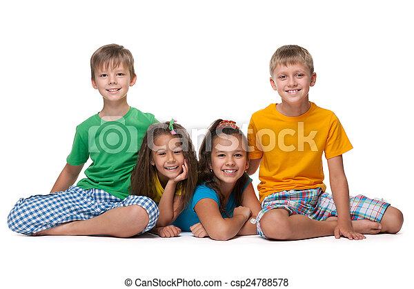 Four happy children - csp24788578